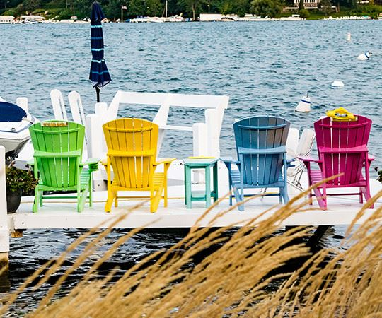 four chairs on a dock