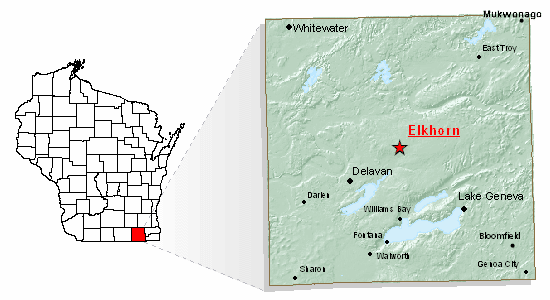 Map of Elkhorn Wisconsin