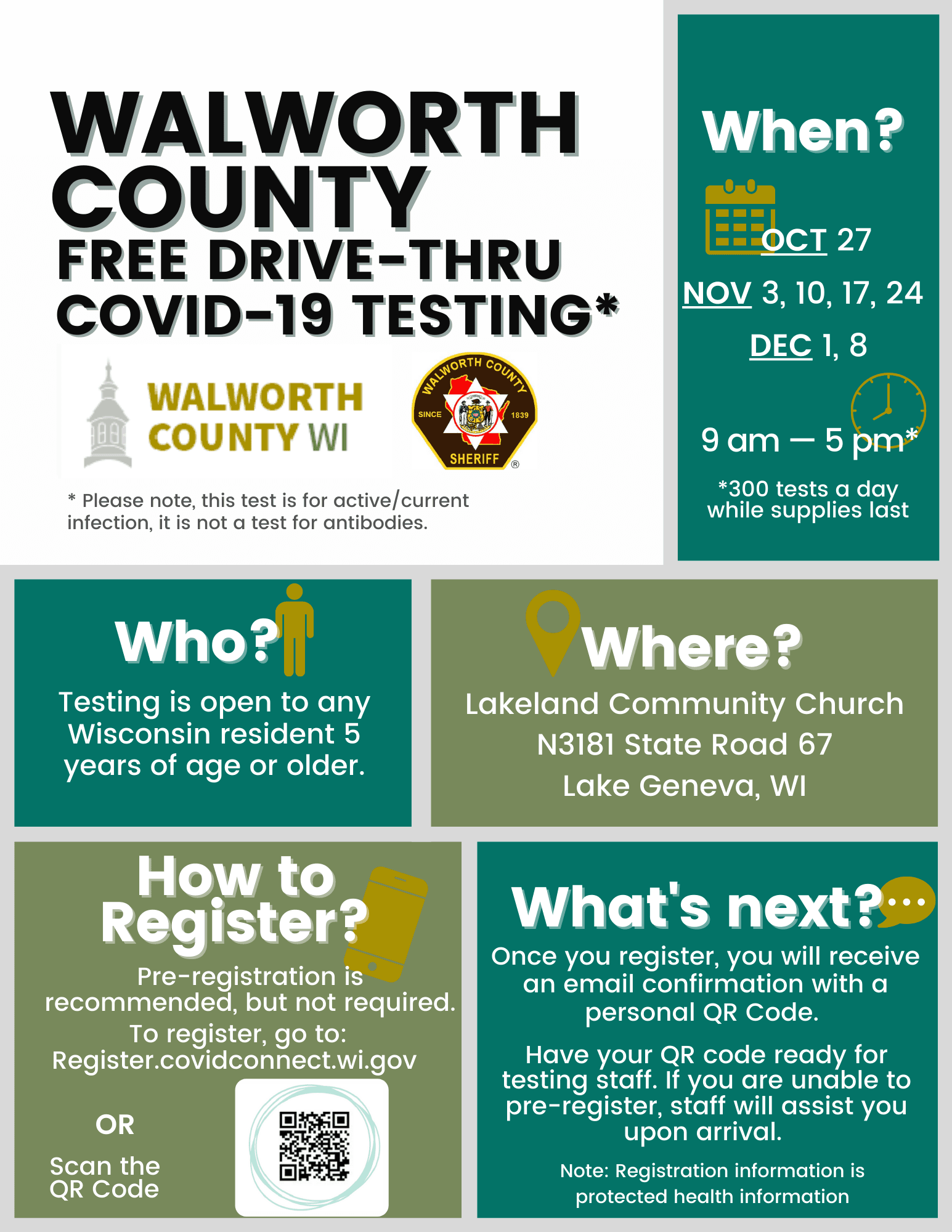 COVID-19 Testing Flyer - Lakeland Community Church - English